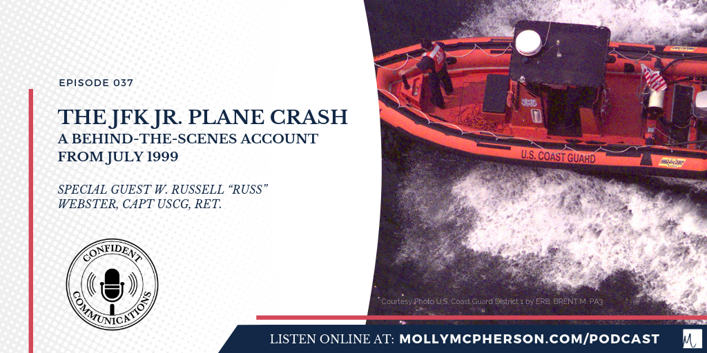 A graphic depicting a US Coast Guard vessel with the text The JFK Jr Plane Crash Behind the Scenes Account from July 1999 with Captain W Russel Webster